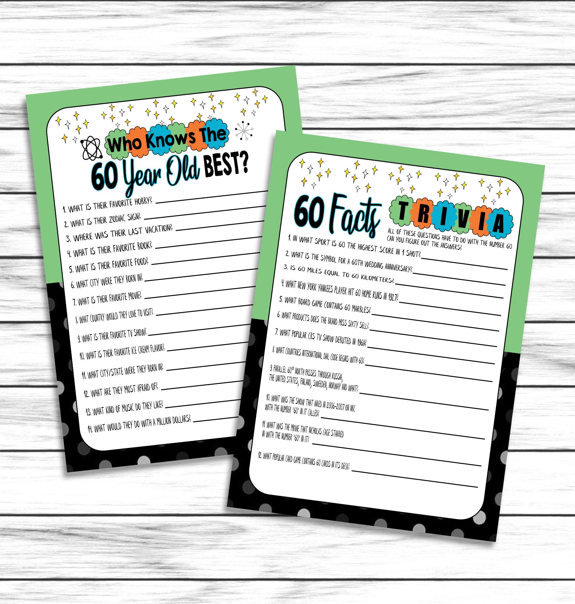 60th Birthday Party Games, How Well Do You Know The 60