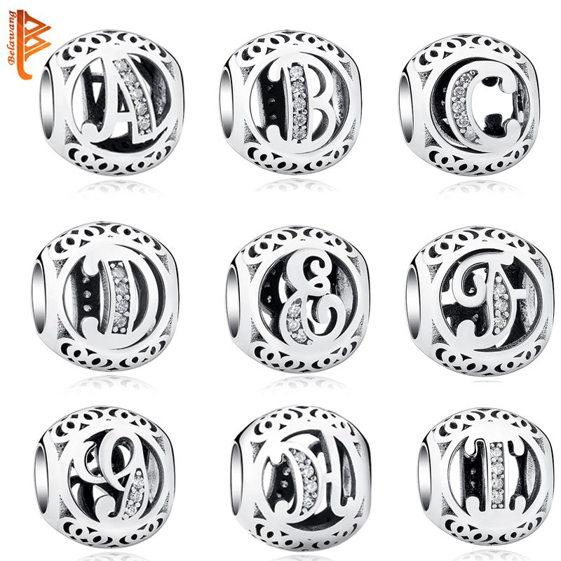 951ecc286 Beads Authentic 925 Sterling Silver Jewelry Crystal Alphabet A-Z Letter  Charms Fit Pandora Bracelet Bangle DIY