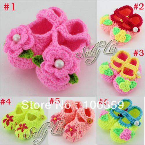 Newborn Baby Handmade Crocheted Shoes Infant Flower Booties Sandals ...
