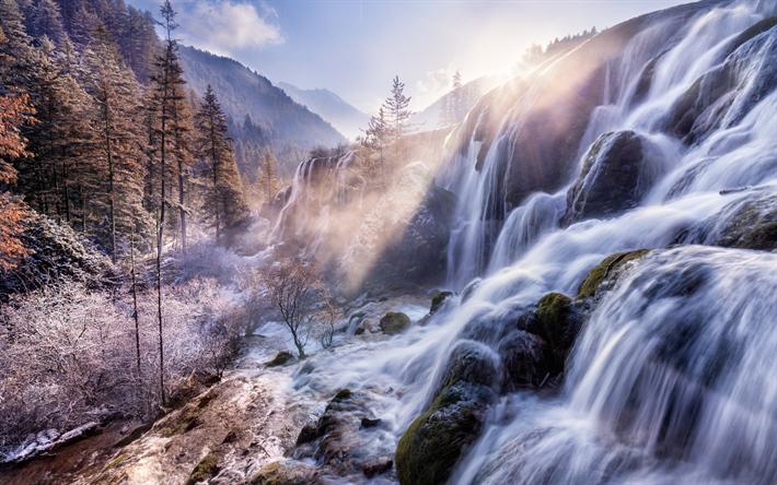 Scarica Sfondi Cina Cascata Mattina Montagne Pietre Rime Asia Besthqwallpapers