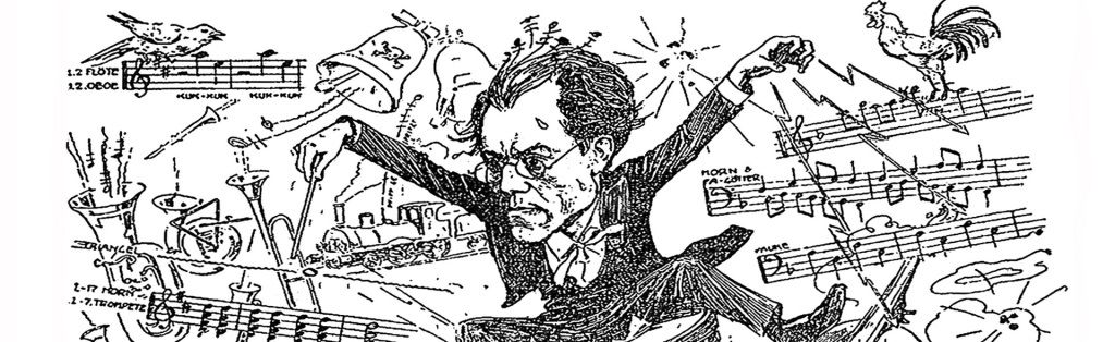 Caricatura de Gustav Mahler dirigiendo su Sinfonía nº 1