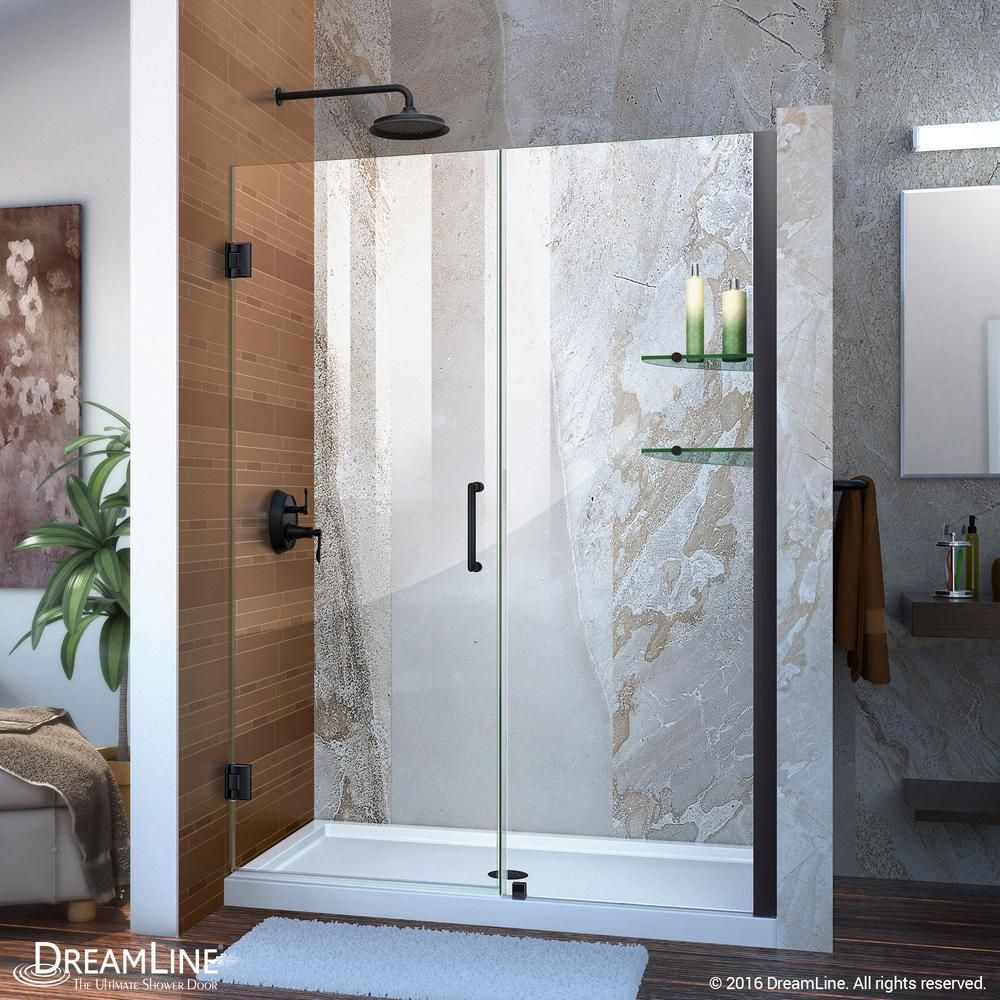 Dreamline Unidoor 52 To 53 In X 72 In Frameless Hinged Shower Door In Satin Black Shdr 20527210s 09 Shower Doors Frameless Shower Doors Frameless Shower