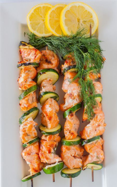 Grilled Salmon Kabobs with Lemon Dill Marinade - -