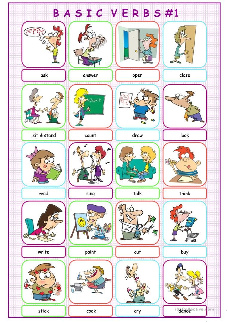 Basic Verbs Picture Dictionary 1 Worksheet Free Esl Printable Worksheets Made By Teachers Verbs For Kids Picture Dictionary Verbs Kindergarten [ 1079 x 763 Pixel ]