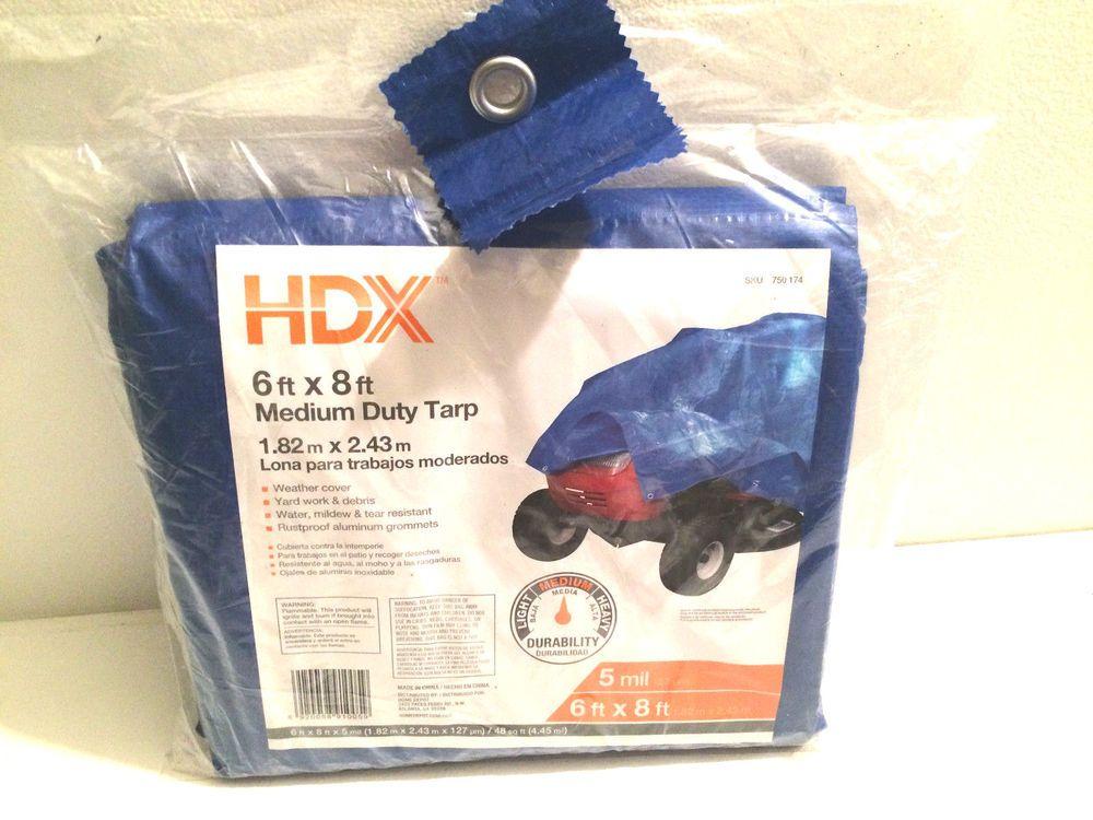 6 Ft X 8 Ft Blue General Purpose Tarp Medium Duty Hdx Hdx Tarps Medium Ebay