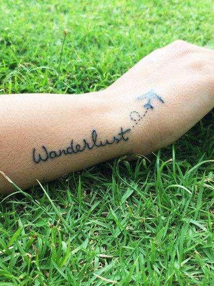 wanderlust tattoo tattoos schrift tattoos tattoos. Black Bedroom Furniture Sets. Home Design Ideas