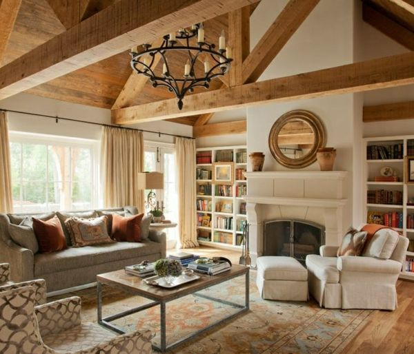 Wohnzimmer landhausstil braun  Das Wohnzimmer rustikal einrichten - ist der Landhausstil angesagt ...