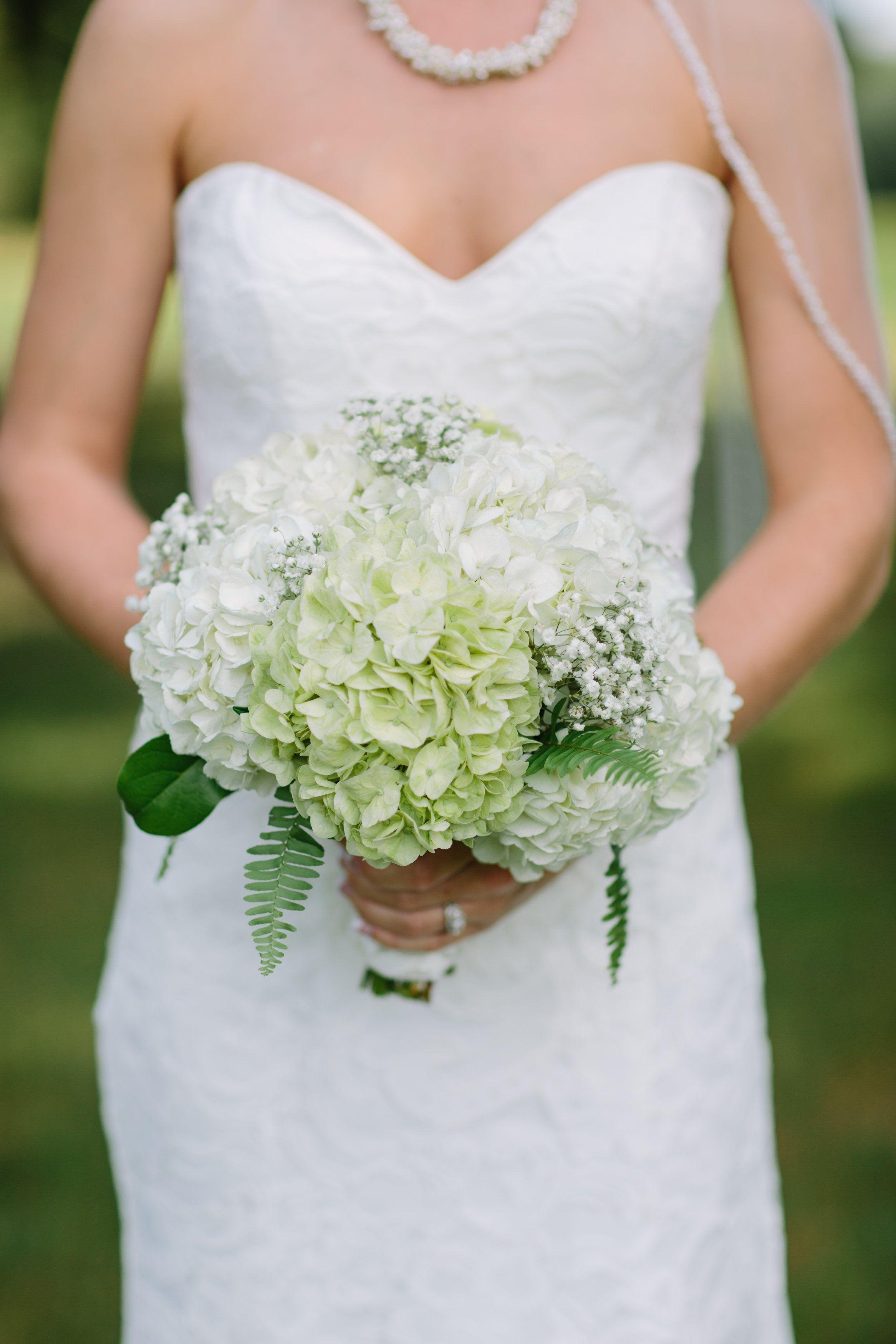 Bridal Bouquet Hydrangeas Baby S Breath Fern Wedding Bouquets