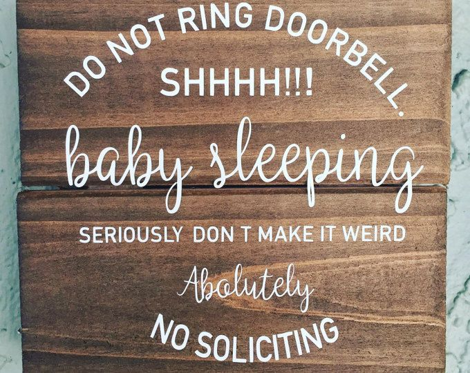 Baby Sleeping Sign No Soliciting Sign Front Door Sign Welcome