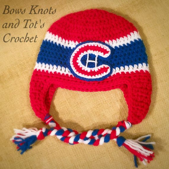 Montreal Canadiens hat, Canadiens crochet hat with ear flaps ...