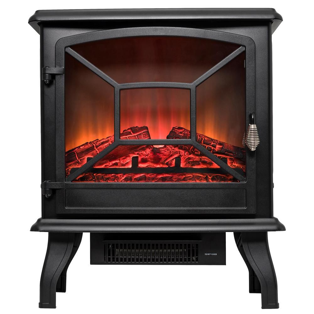 20 In Freestanding Electric Fireplace Mantel Heater In Black With