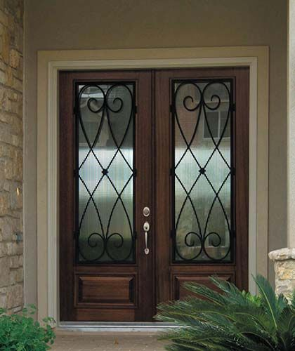 Double front doors for homes exterior doors photo for Exterior double doors with glass