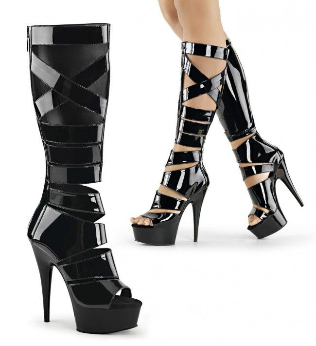 ad4a8accfd5c Pleaser s Delight-600-41 Knee High Gladiator Sandal Boot features Black  patent leather Features strappy shaft with Buckle Detail 6 inch (15.25cm)  Heel 1 3 4 ...
