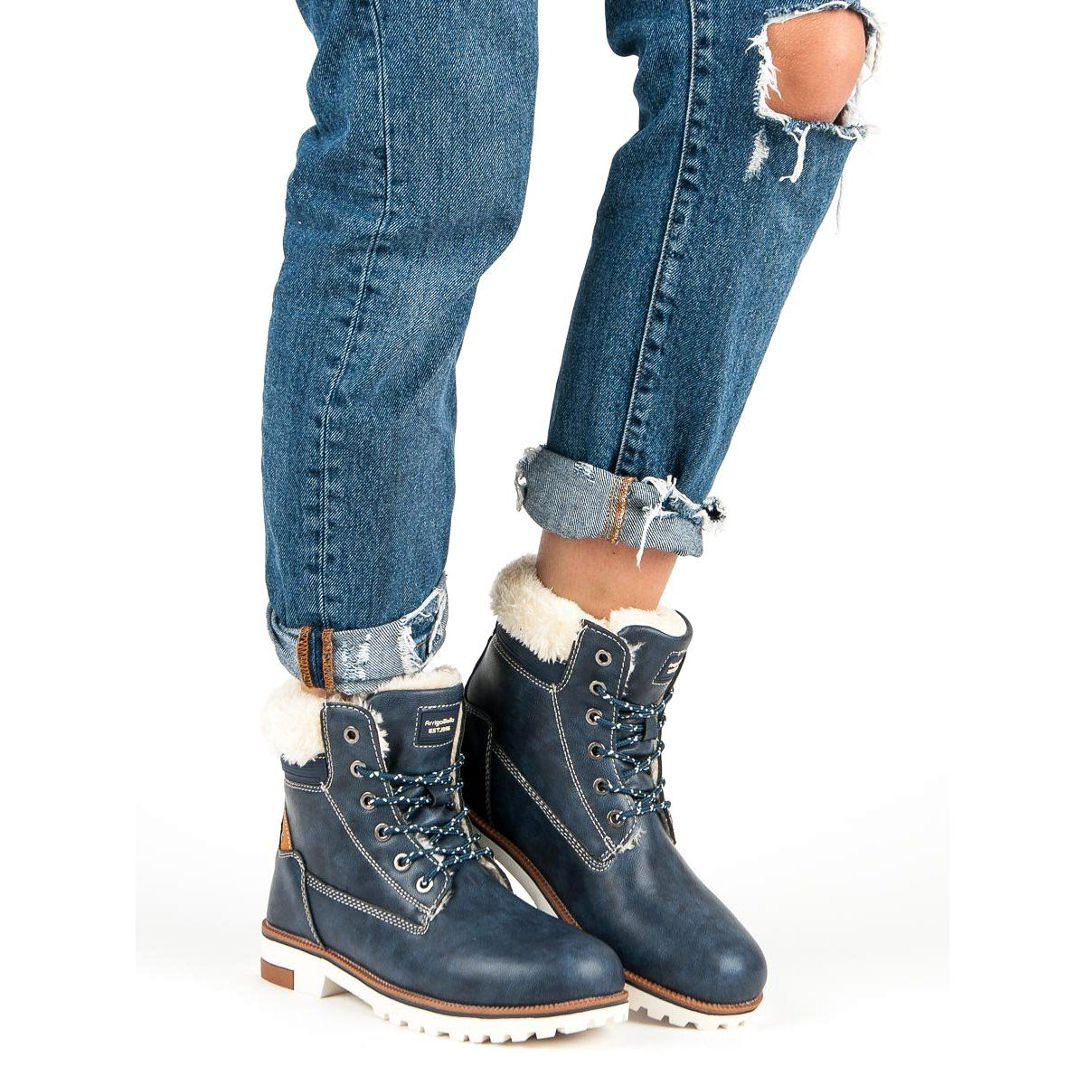 Arrigo Bello Cieple Zimowe Traperki Niebieskie Womens Boots Boots Boot Shoes Women
