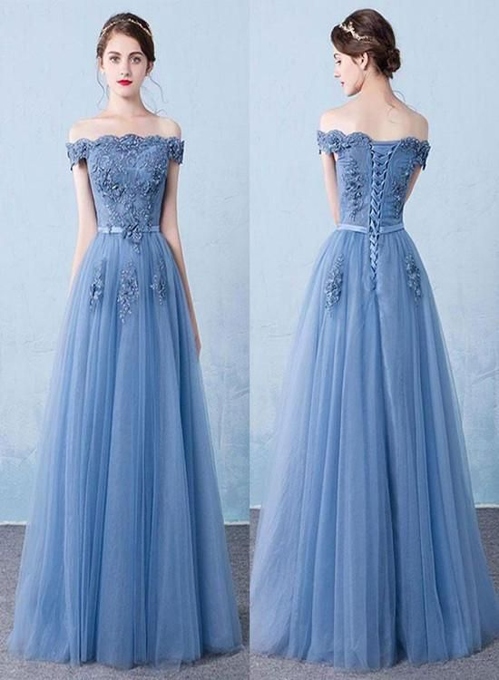 beautiful blue tulle prom dress 2019,#partydress# ...