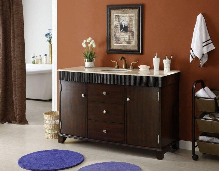 Bathroom Vanities Exclusive Bathroom Vanity With Adorable Bathroom Layout Pretty And Awesome With Coral Paint Theme And Elegant Wooden Vanity With Single Sink