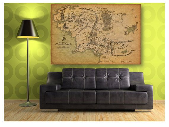 on sale map of middle earth the lord of the rings by vogueclassic nerd love. Black Bedroom Furniture Sets. Home Design Ideas