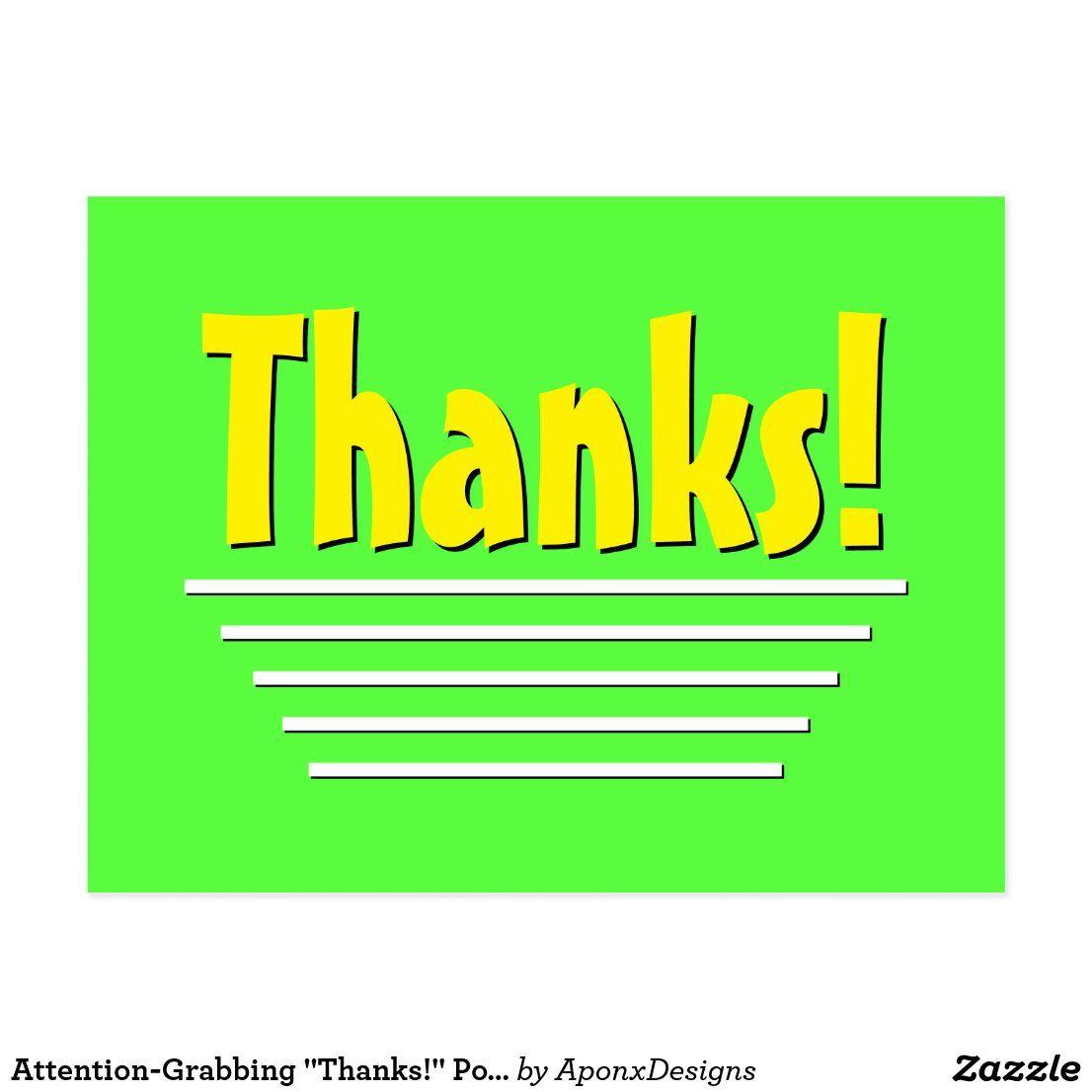Attention Grabbing Thanks Postcard Zazzle Com Postcard Thankful Thank You Postcards