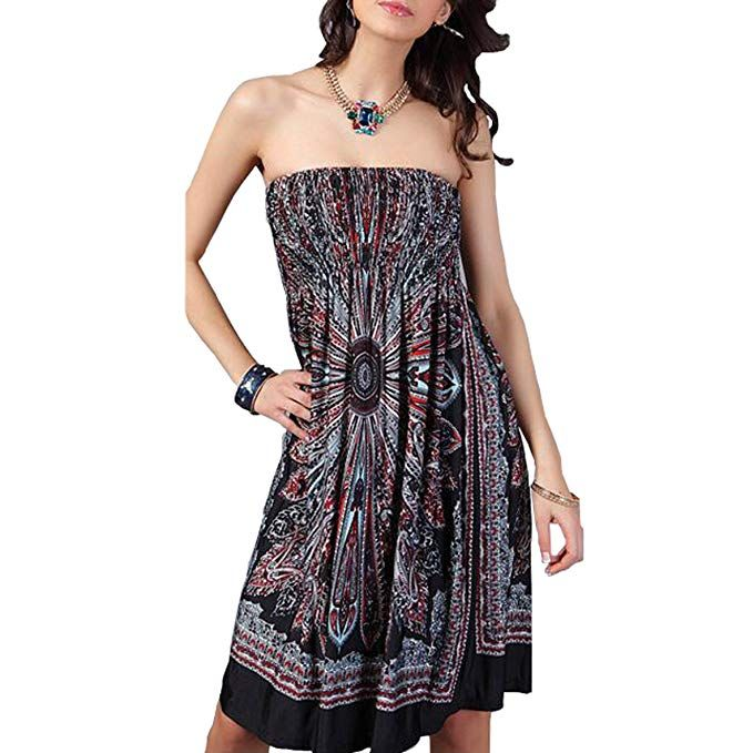 dbc3b80c5b OCTOPUSIR Women Beach Cover up and Kaftans Wraps Ladies Summer Sleeveless  Strapless Beach Sundress Ethnic Bohemian