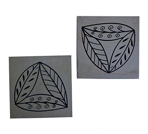 Niksang Arts Engraved Natural Slate Stone. Trivet Set of 2 * To view further for this item, visit the image link.
