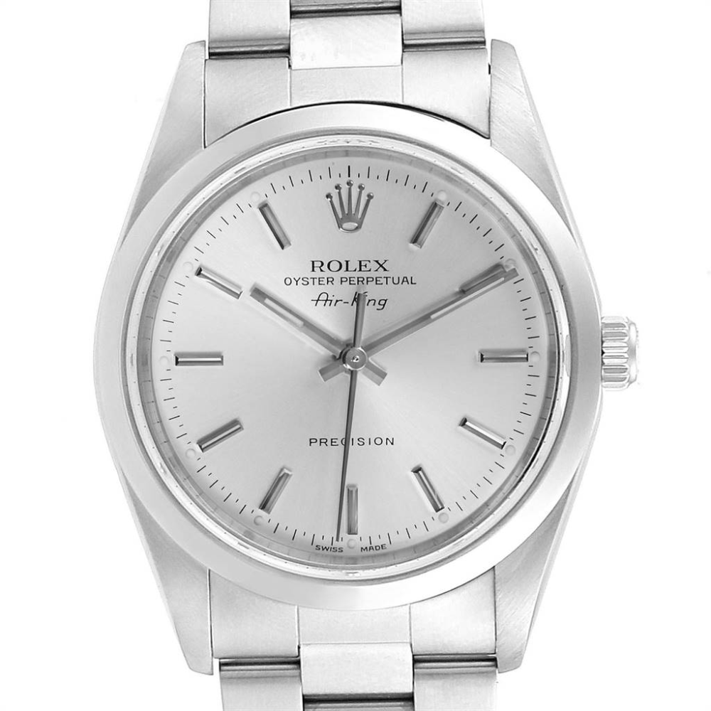 Rolex Air King Silver Dial Domed Bezel Steel Mens Watch