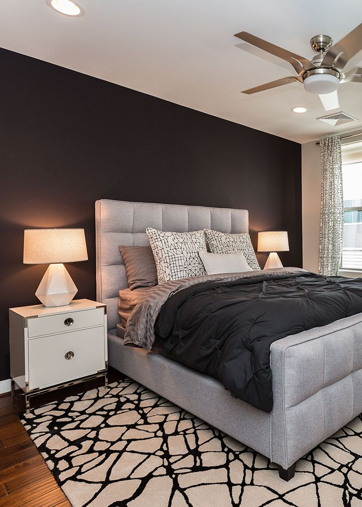 Black And White Bedroom With Modern Tufted Bed Bedroom Interior Classic Bedroom Bedroom Design