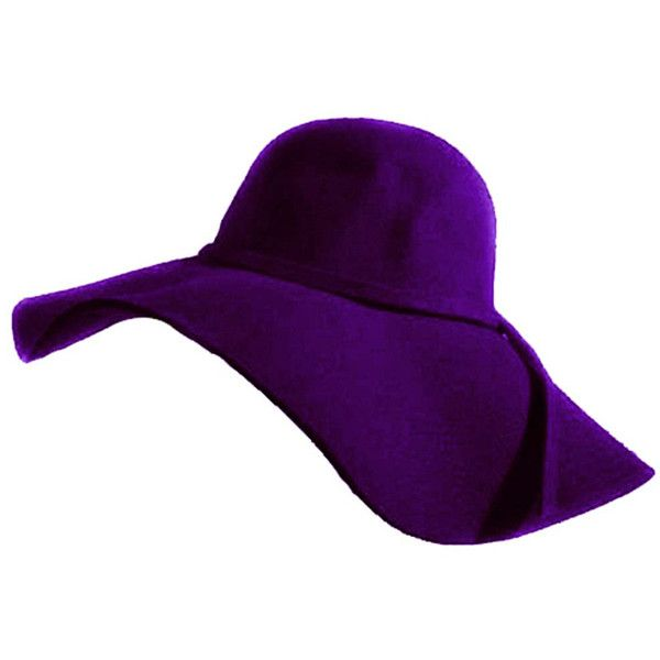 e3e4f31b Elegant Purple Wool Wide Brim Diva Style Floppy Hat ($28) ❤ liked on  Polyvore featuring accessories, hats, purple, brimmed hat, wool hat, floppy  brim hat, ...