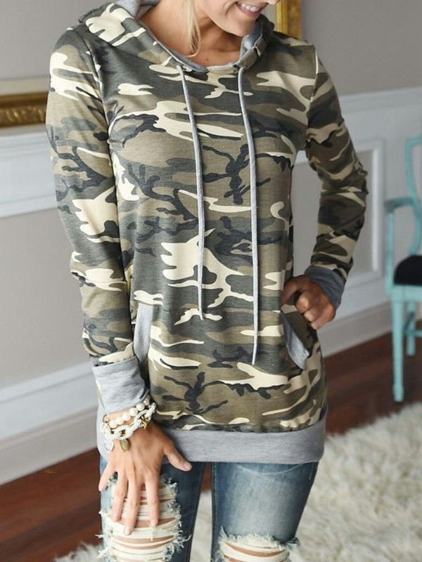 Neutral Camouflage Print Straight Pocket Hoodie Sweatshirt