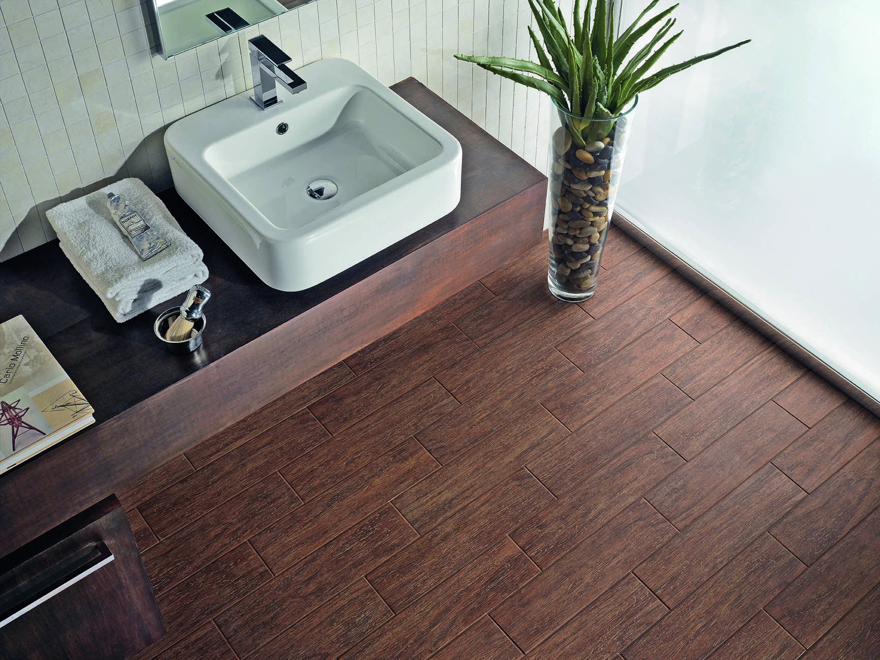The style of hardwood with the benefit of porcelain! http