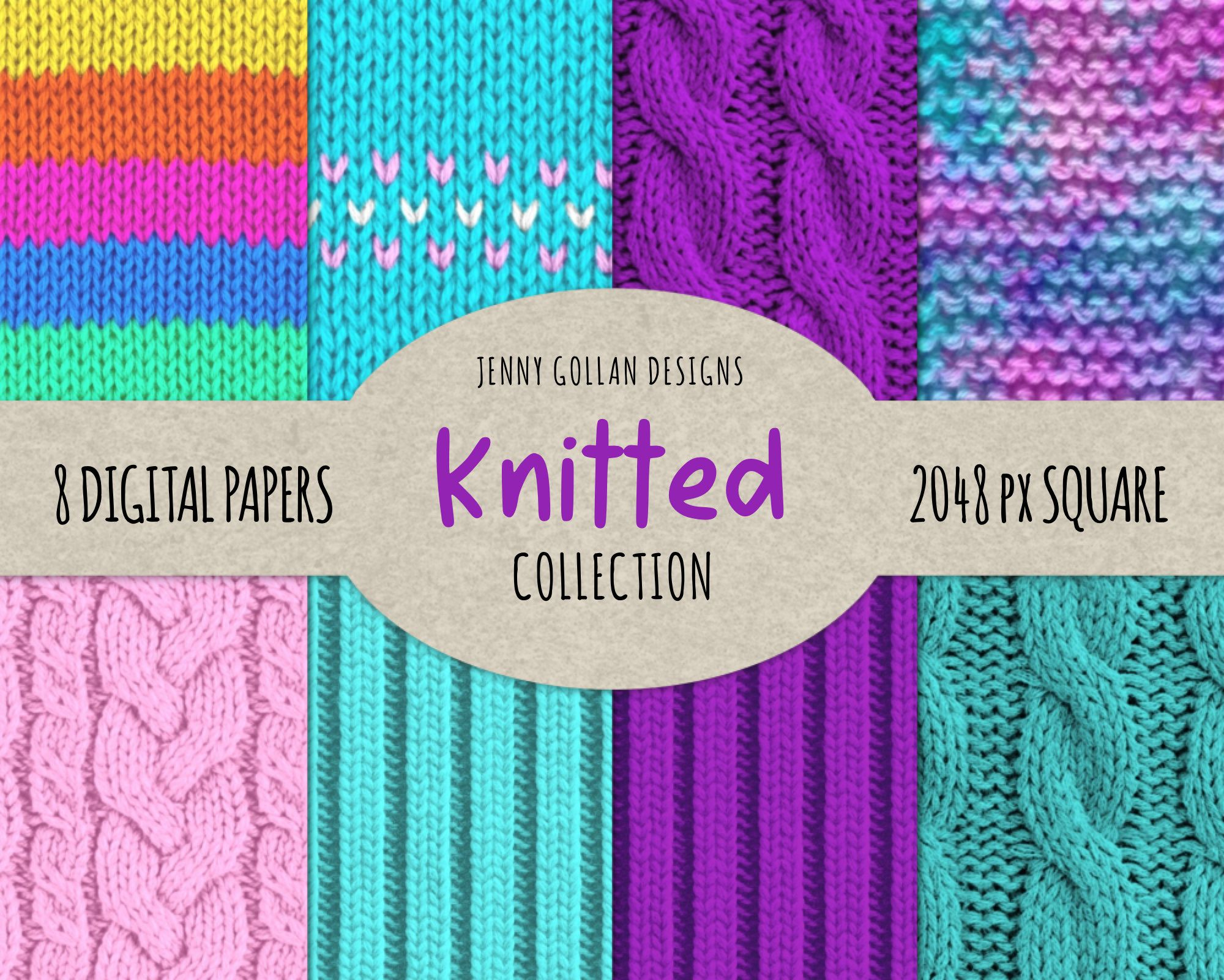 Knitted Digital Paper In 8 Vibrant Patterns for Digital