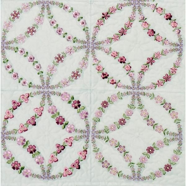 Oregonpatchworks Com Sets Double Wedding Ring Janet Sansom Machine Embroidery Tutorials Machine Embroidery Quilts Embroidered Quilts