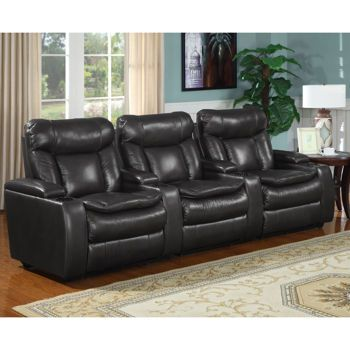 McKay 3 Piece Leather Power Media Recliners   Black