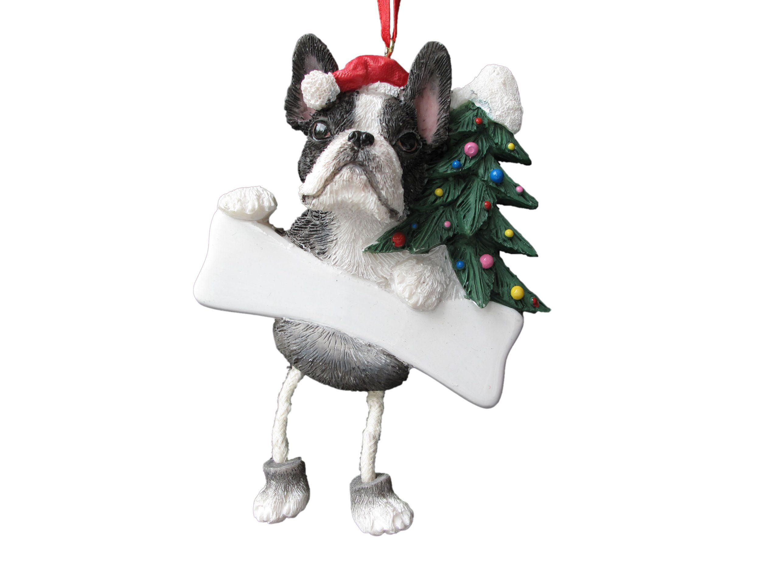 Boston terrier ornament with unique dangling legs hand
