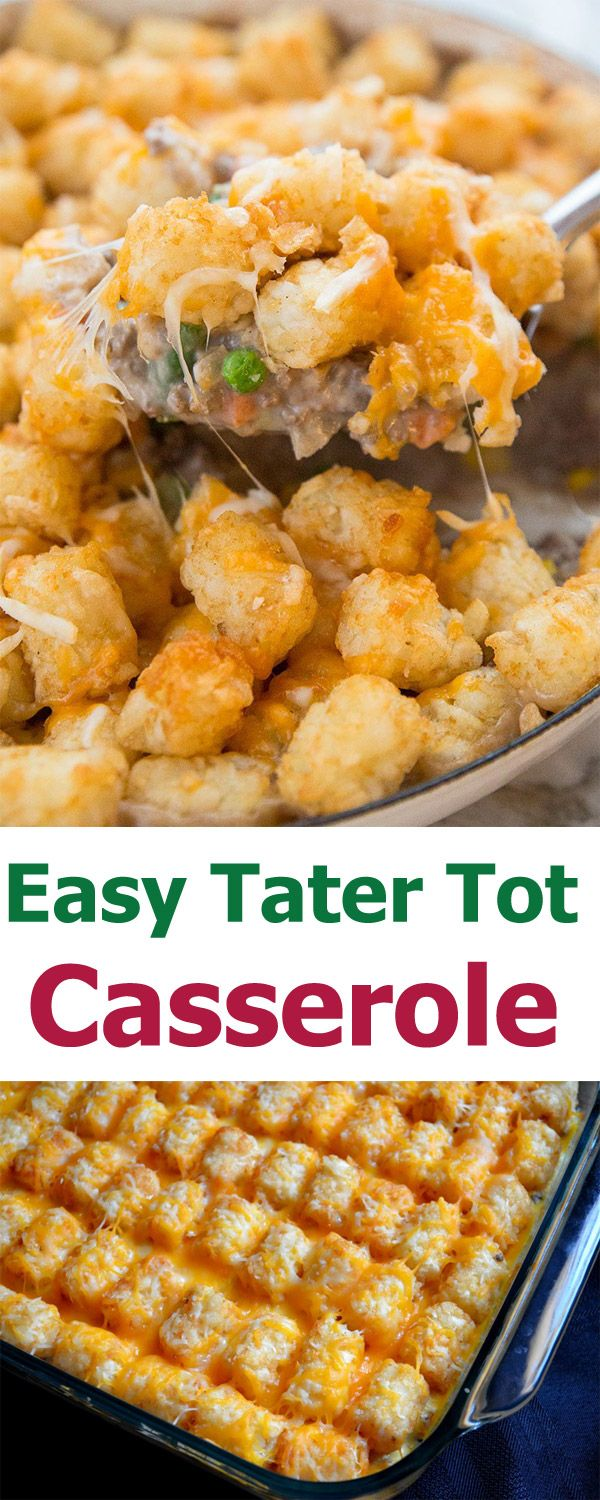 Cheesy Tater Tot Casserole With Green Beans Easy Breakfast Casserole Recipe Beef Tater Tot Casserole Tater Tot Easy Tater Tot Casserole