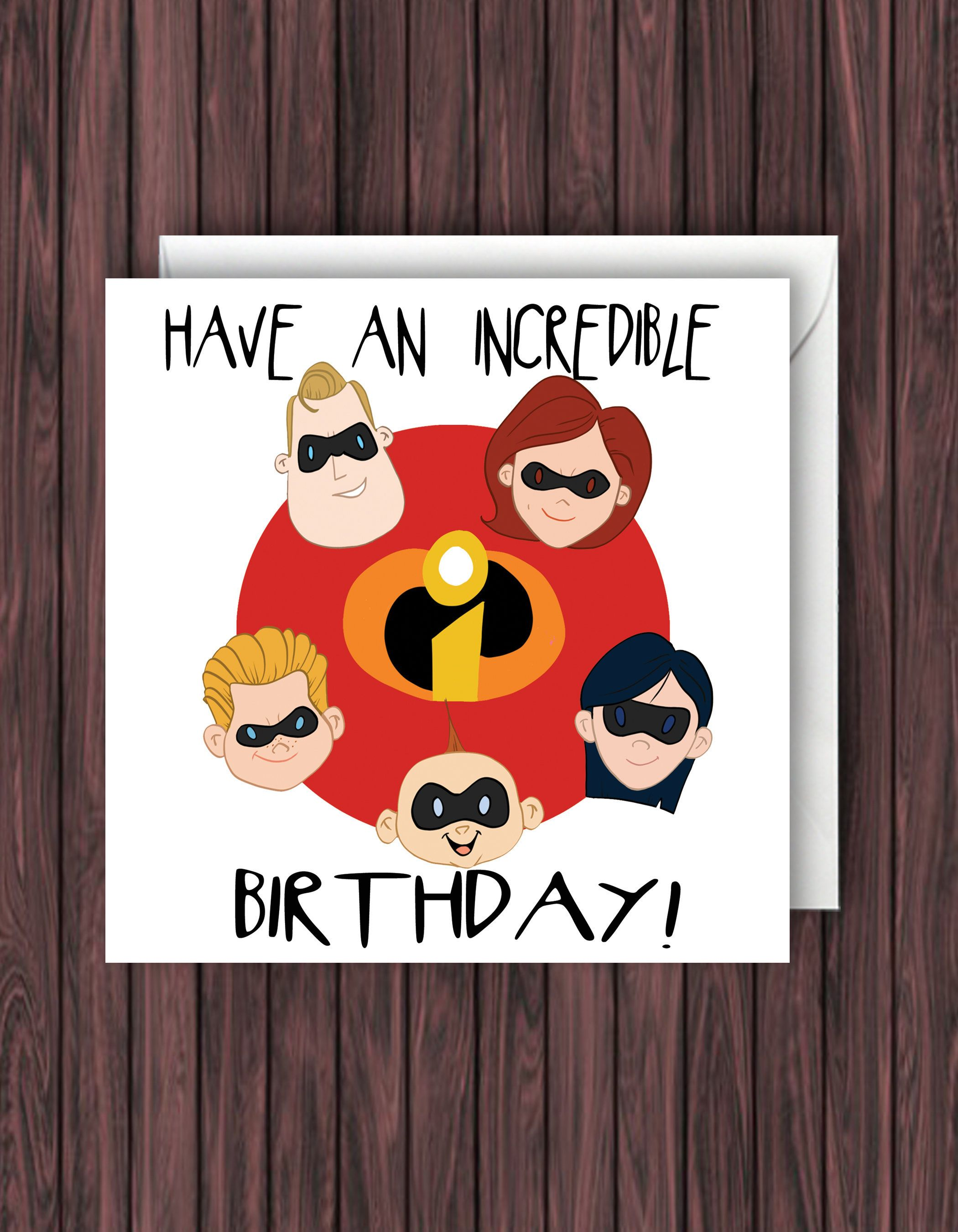 Disney Birthday Card Pixar Blank Childrens Incredibles 2
