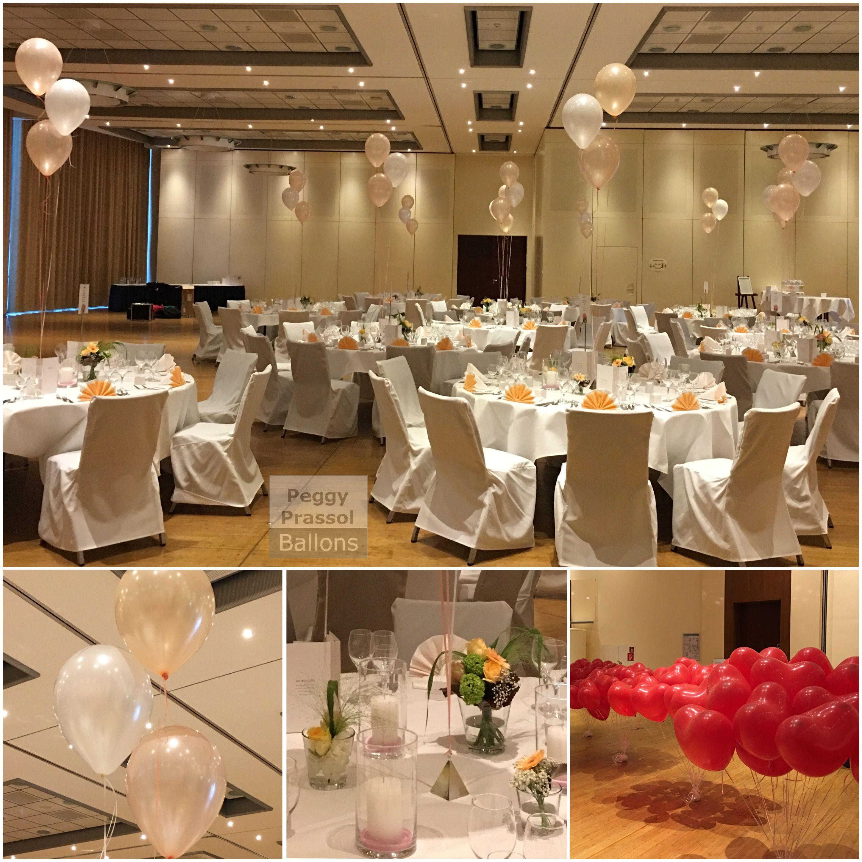 Ballondekoration zur Hochzeit Luftballons über den Tischen als