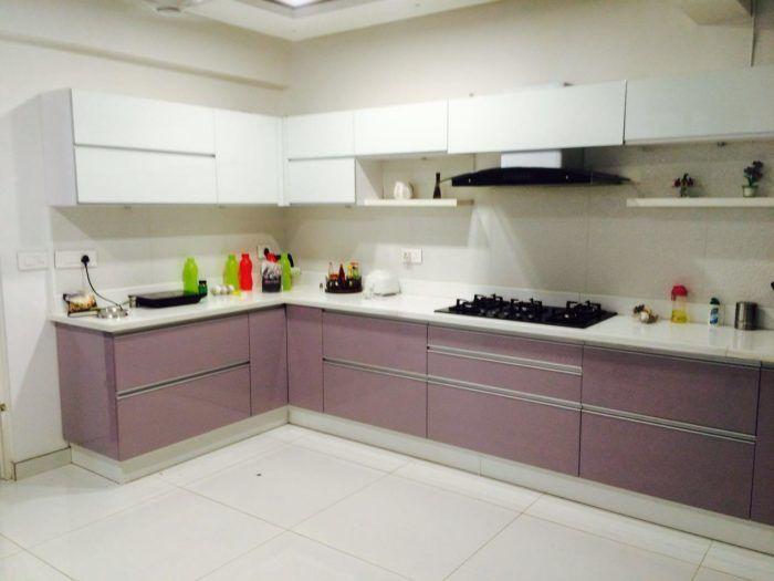 Lavender Blush And Clssic White Pu Finished Modular Kitchen Kitchen Interior Kitchen Design Purple Kitchen