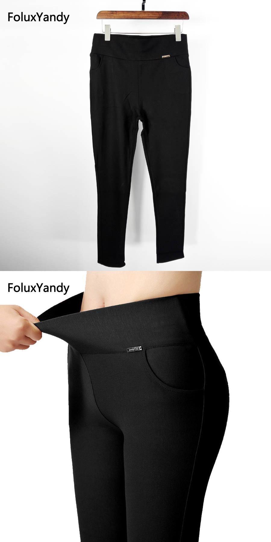 1161f53b7e1 6 Colors High Waist Leggings Women Plus Size 3 XL Slim Elastic Stretched  Bodycon Leggings Office Lady Trousers NJR02
