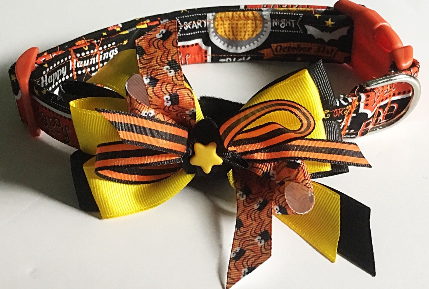 Trick or Treat Halloween Collar with Matching Ribbon Bow for All Dogs and Cats by KVSPetAccessories on Etsy