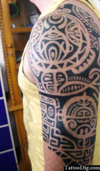 Polynesian tribal sleeve shoulder tattoo tribal tattoo for Freedom tribal tattoos