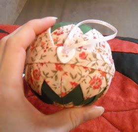 Here's the ornament we'll be making today:   Materials:   1/4 yard, or a fat quarter, of the main fabric (pink in this example)             ...