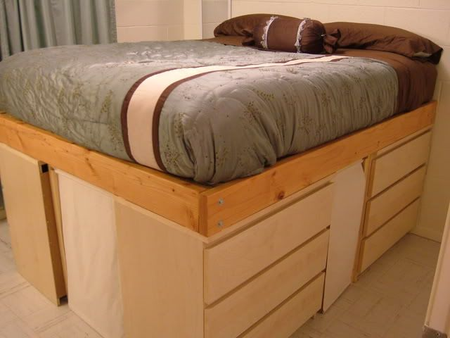 ikea hackers loft bed frame and elevated laptop stand - Elevated Queen Bed Frame
