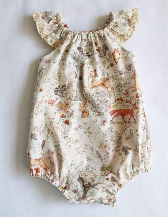 3ef3c61ad357 This sweet little woodland romper is comfy and cute!  Sewn with a soft