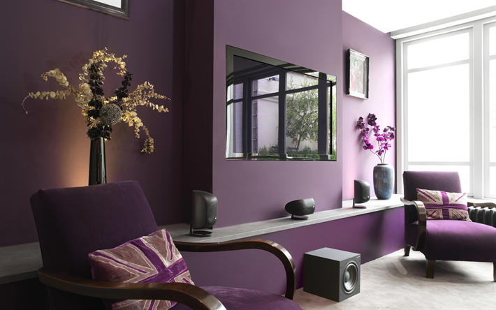 Wohnzimmer Lila ~ Herunterladen hintergrundbild 4k wohnzimmer lila zimmer moderne