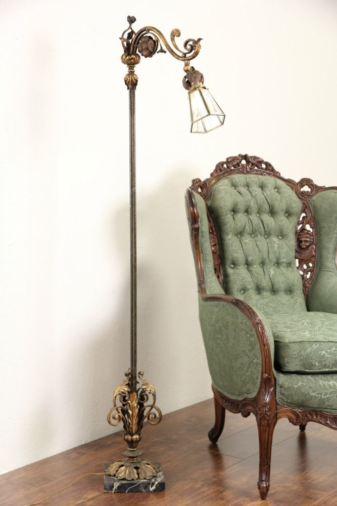 Wrought Iron 1920 S Antique Bridge Reading Floor Lamp Marble Base Antique Floor Lamps Small Lamp Shades Wall Lamp Shades