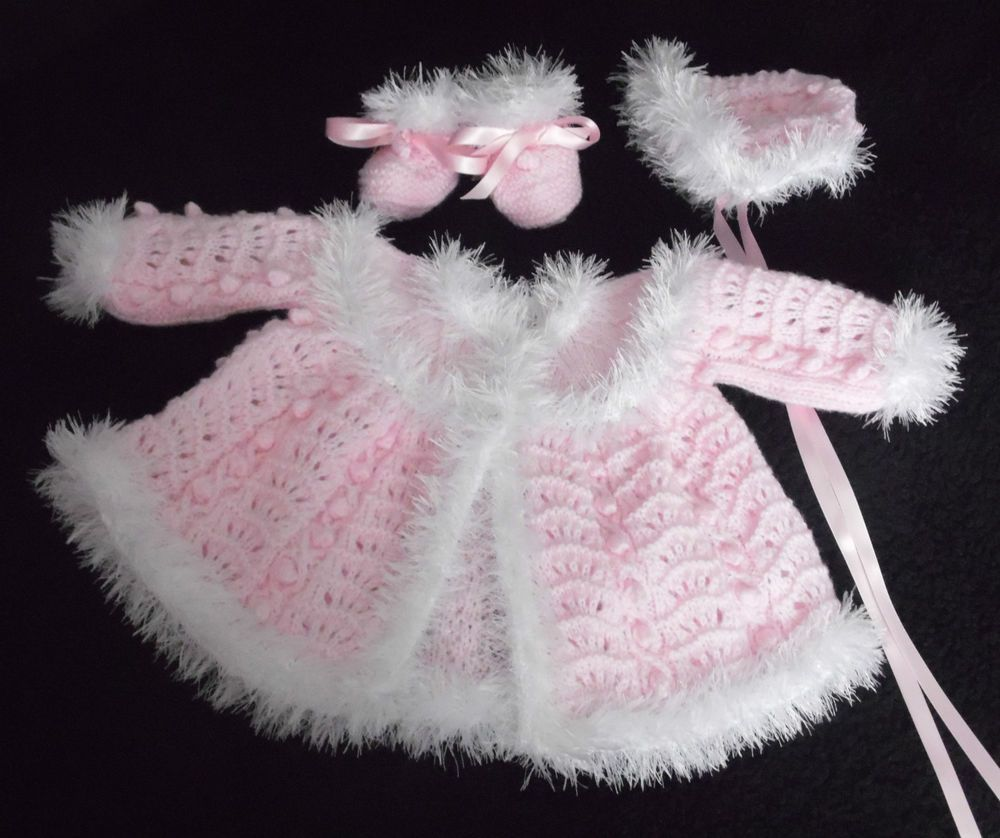 HAND KNITTED DOLLS CLOTHES FOR 20 -22 DOLL, REBORN, 0-3 MTH BABY ...