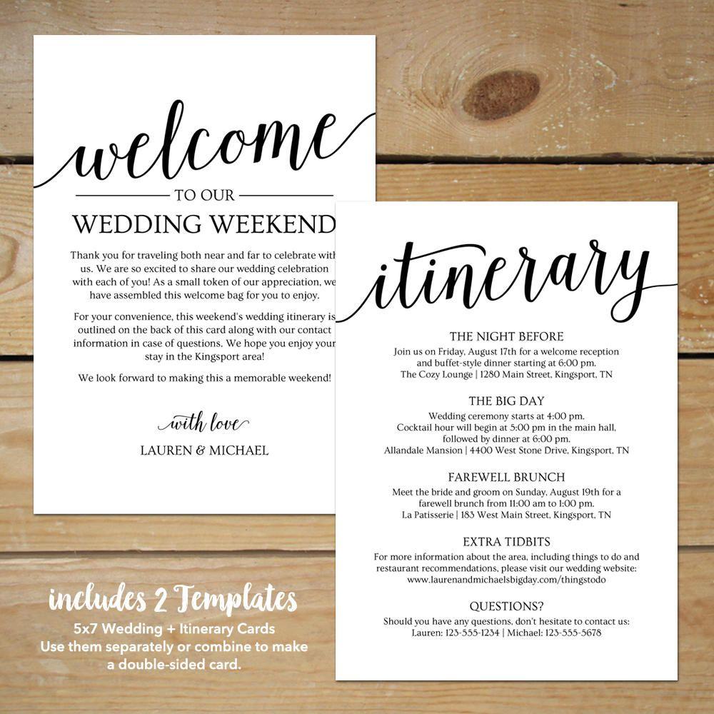 Wedding Itinerary Template Printable Wedding Welcome
