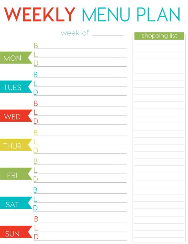 Free weekly menu planner printable weekly menu planners for Free weekly meal planner template