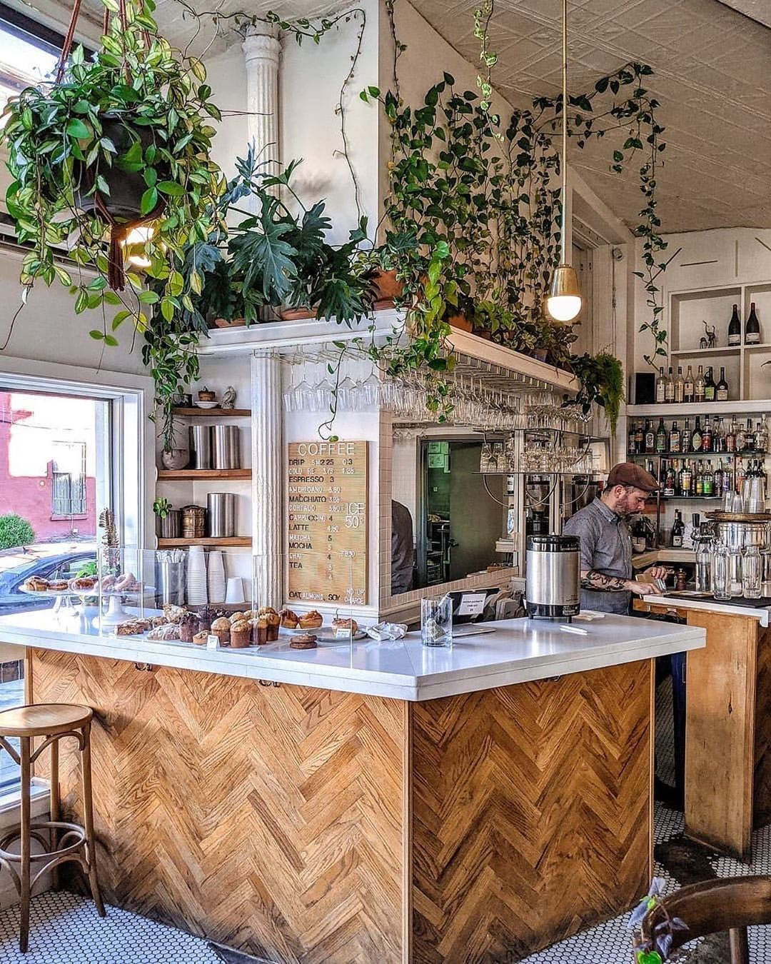560 Likes 3 Comments I Plant Even Iplanteven On Instagram This Cute Brooklyn Coffee Shop Is The Perfe Restaurant Interior Kitchen Design Kitchen Layout