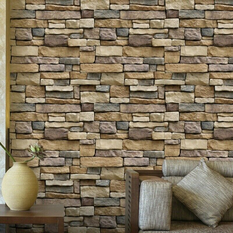 Wall Paper 3d Brick Stone Rustic Effect Self Adhesive Wall Sticker Home Decor Wallpaper Ideas Of Wa Diy Wall Stickers Brick Wallpaper Background Wallpaper